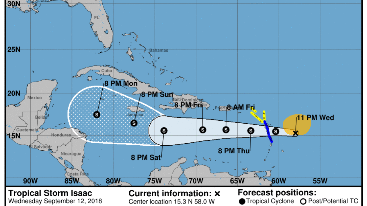 Gradual weakening expected for Tropical Storm Isaac