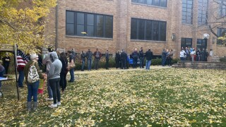 Line outside Douglas County School Board after judge rules in favor of mask mandates for public schools