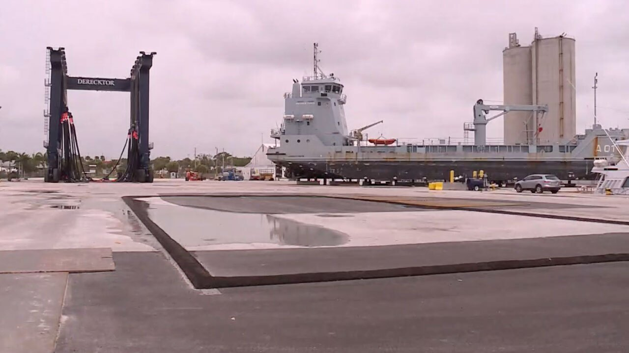 Port of Fort Pierce, Bahamian Naval ship undergoing repairs