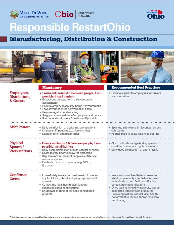 manufacturing guidelines ohio