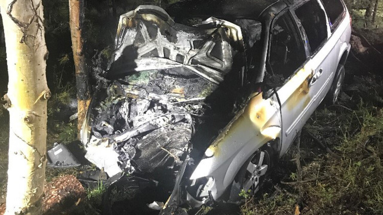 Man rescues two in Teller County after car hits tree, bursts into flames