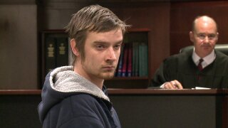 Mathew Potter appears in a Muskegon County courtroom