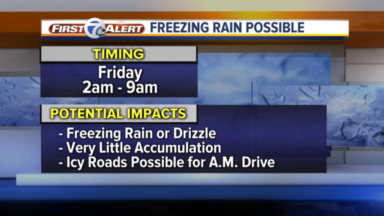 Freezing rain possible tomorrow morning