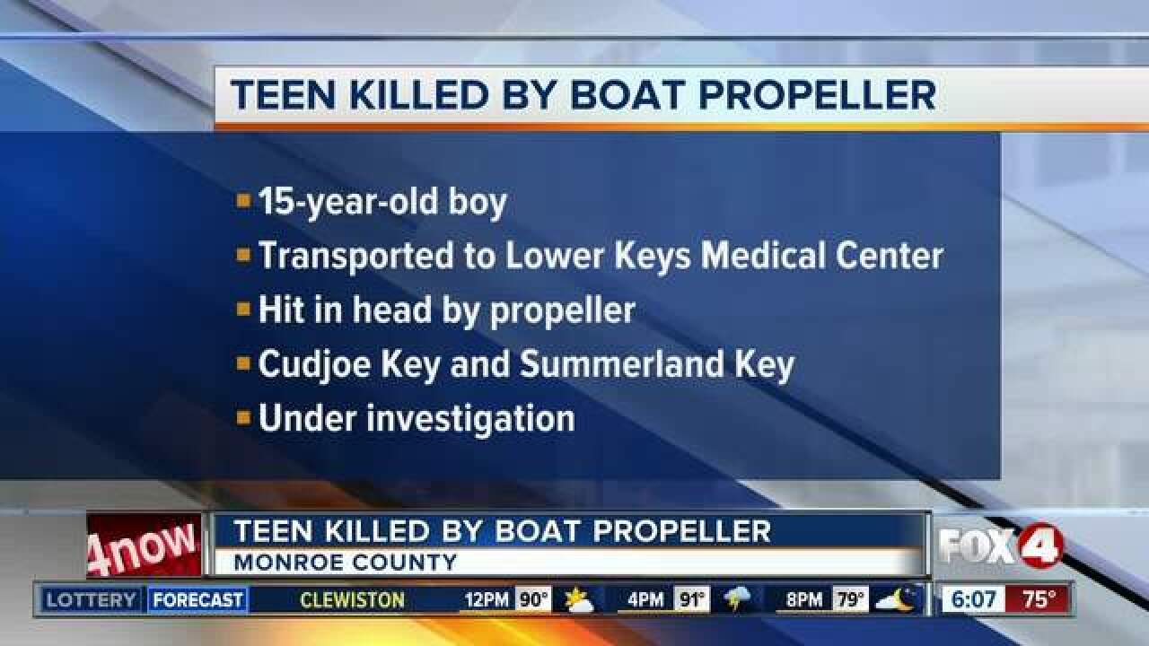Teen killed by boat propeller in Florida Keys