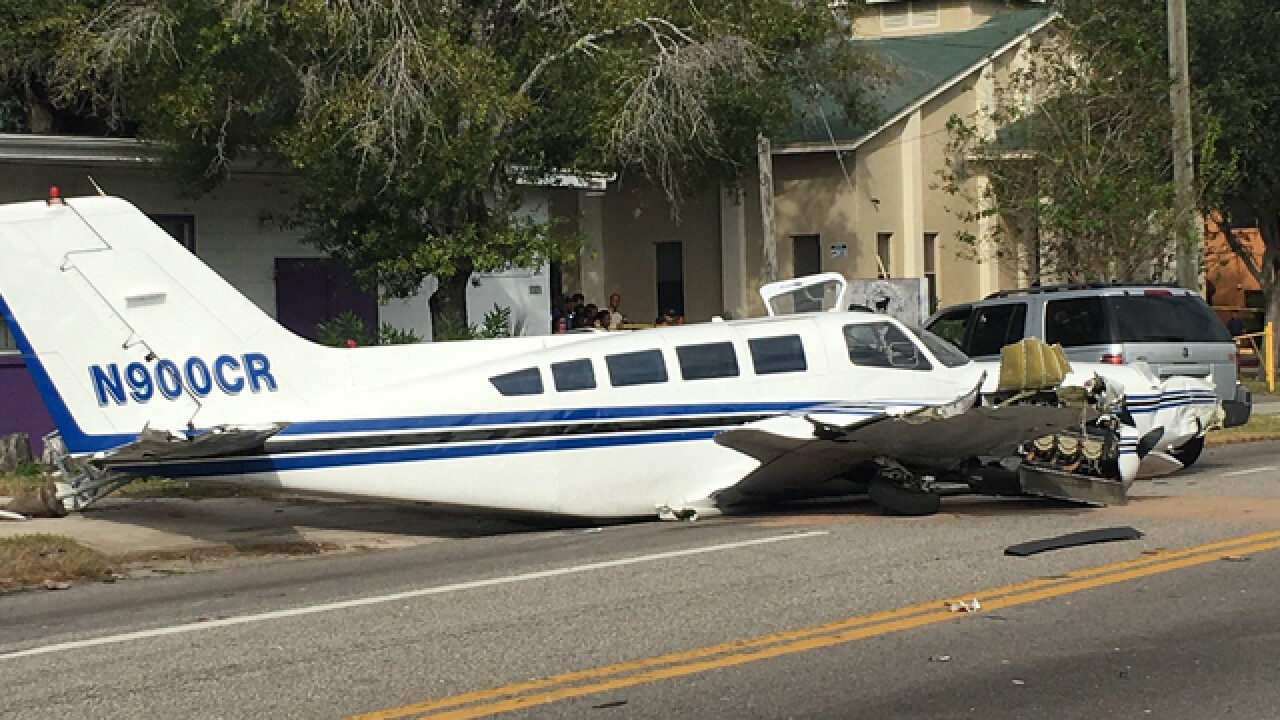 Small plane crashes onto road in St. Petersburg
