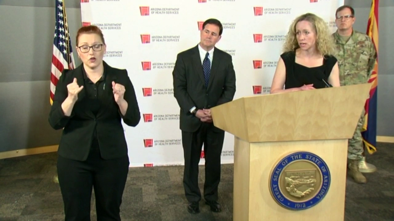 Arizona Department of Health Services Dr. Cara Christ and Gov. Doug Ducey