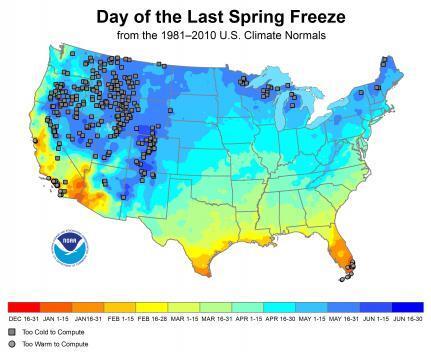 NOAA Spring Last Freeze Map