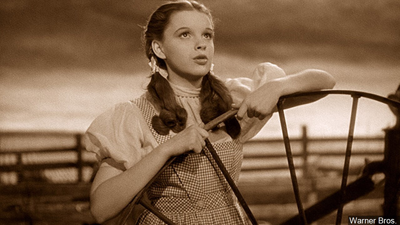 Judy Garland singing Over the Rainbow in The Wizard of Oz