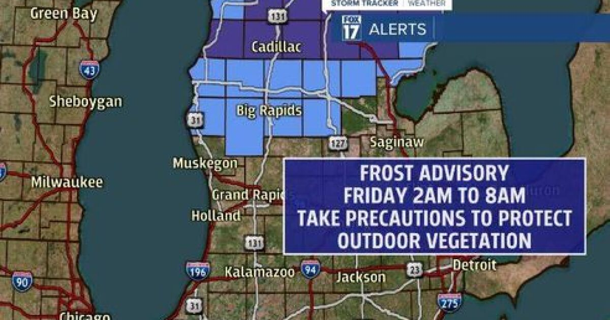 Frost Advisory in place overnight Thursday into Friday morning