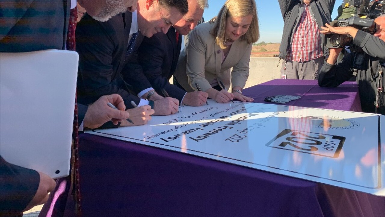 Arizona Gov. Doug Ducey joined the mayors of Phoenix and Tempe and the president of the Gila River Indian Community to christen the South Mountain Freeway.