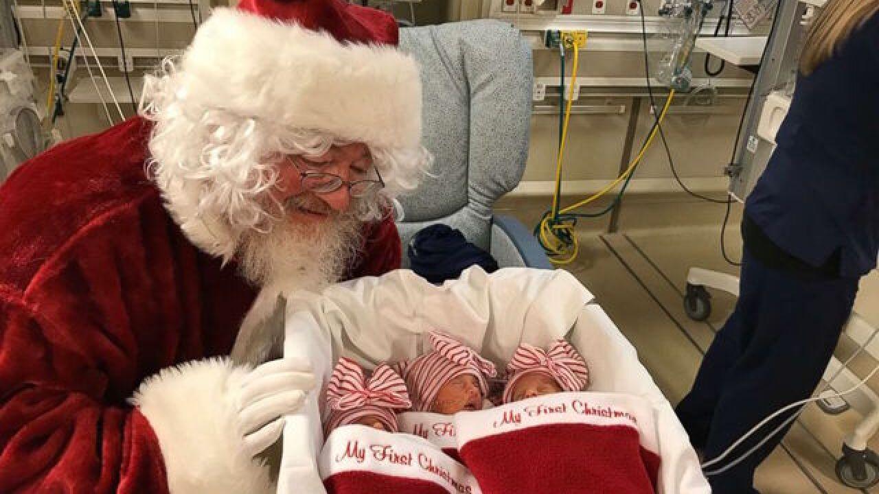 Premature babies get 1st photos with Santa Claus