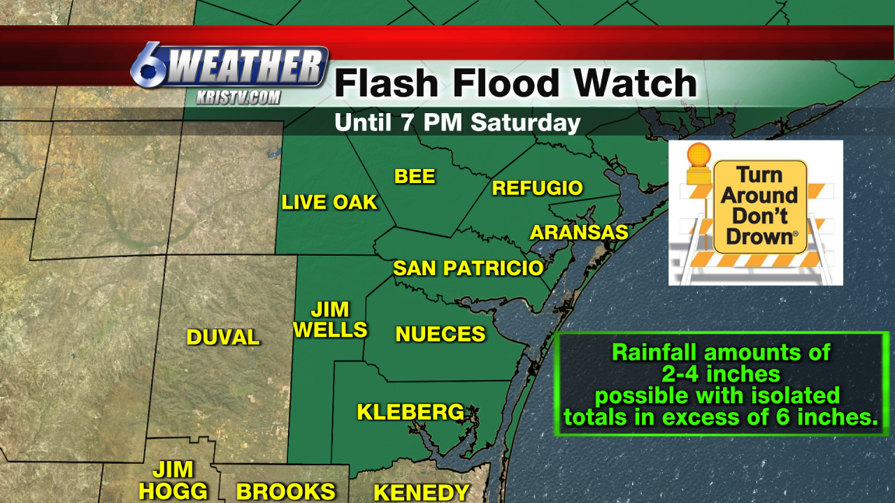 Flash Flood Watch until 7PM for South Texas