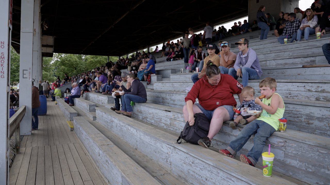 Spectators waiting for the rodeo start