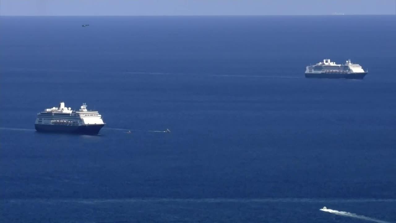 Zaandam and Rotterdam, Holland America cruise ships waiting to arrive at Port Everglades