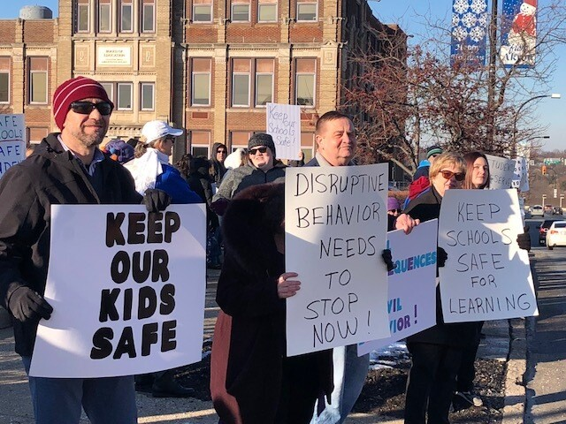PHOTOS: Akron teachers put on 'safe schools rally' after being assaulted by students