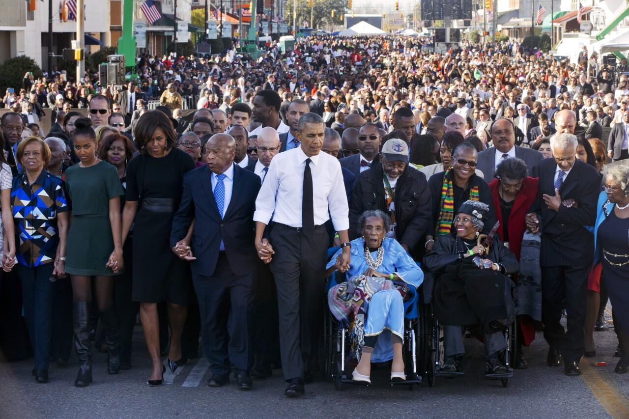 Barack Obama, Michelle Obama, Malia Obama, Sasha Obama, Marian Robinson, John Lewis, Amelia Boynton Robinson
