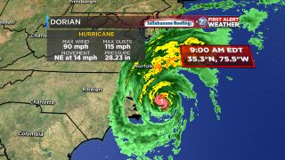 Dorian, now Category 1, makes landfall on North Carolina's east coast