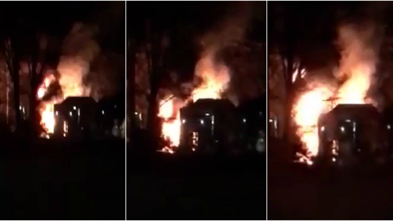 Video shows fire raging behind new Chesterfieldlibrary