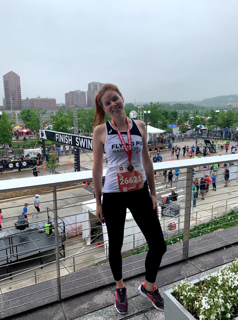 Irina Makhonina after running in the Flying Pig