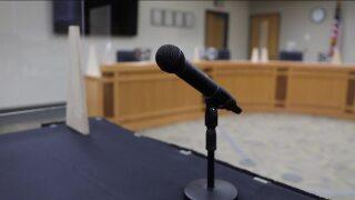 Microphone at school board meeting