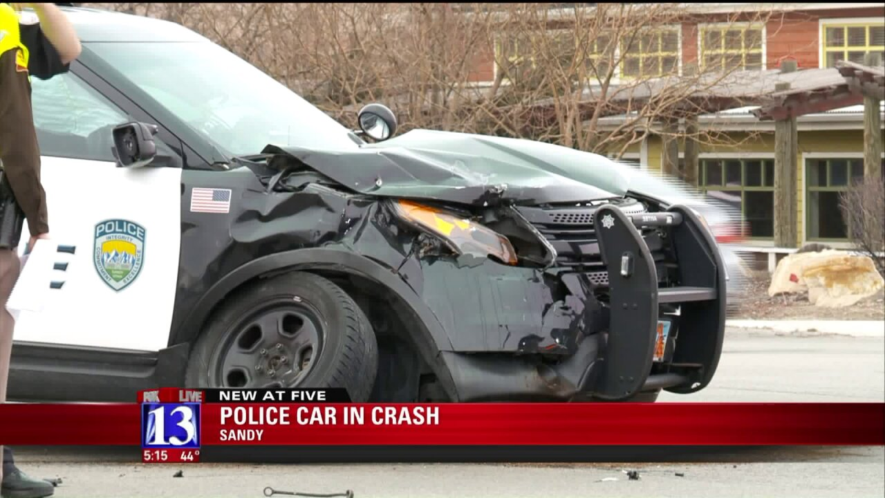 Sandy Police vehicle T-boned in intersection as officer was en route to crash