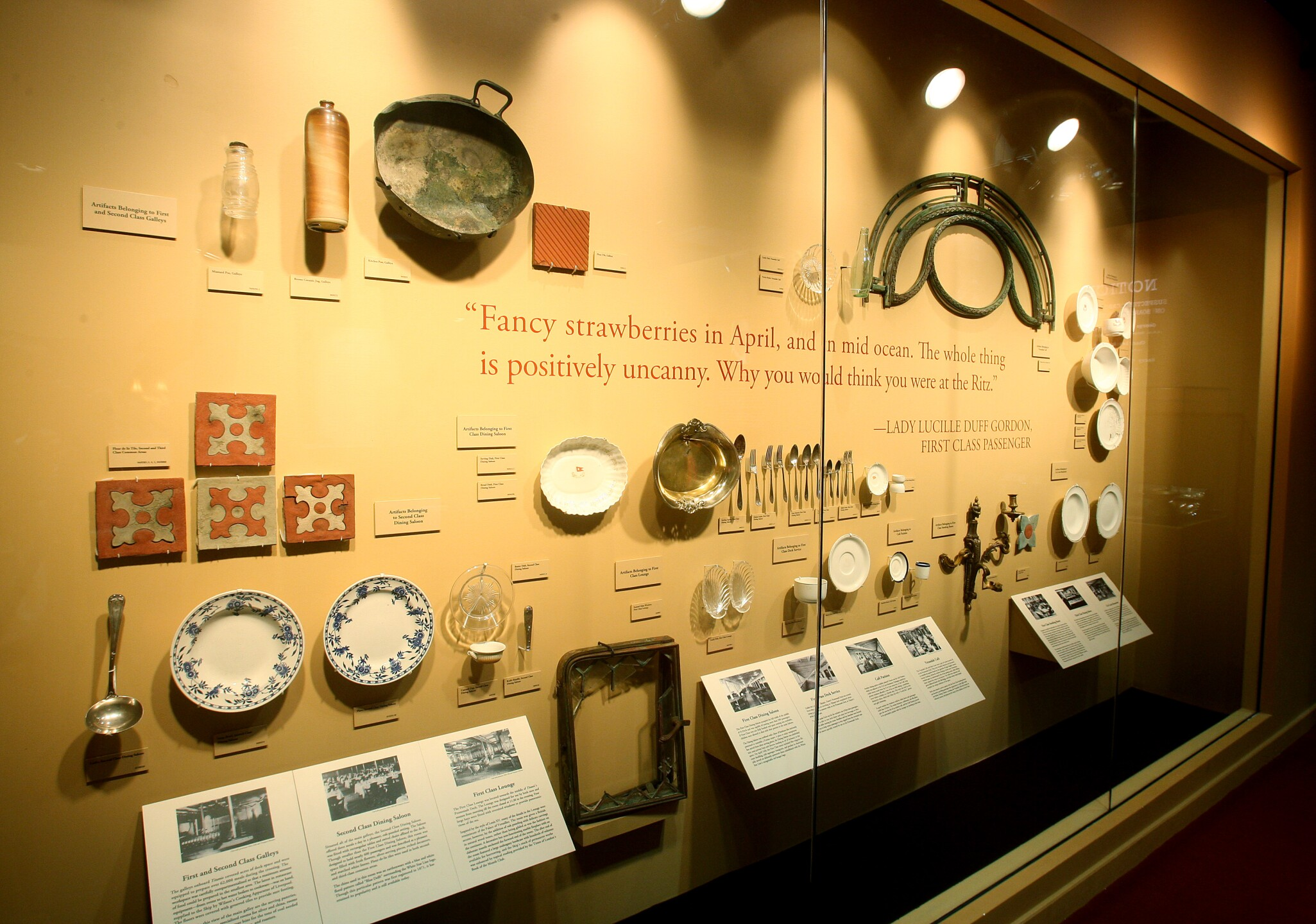 Wall of Serving Utensils, Dishes, Tiles_Titanic the Artifact Exhibition at Luxor Hotel & Casino.jpg