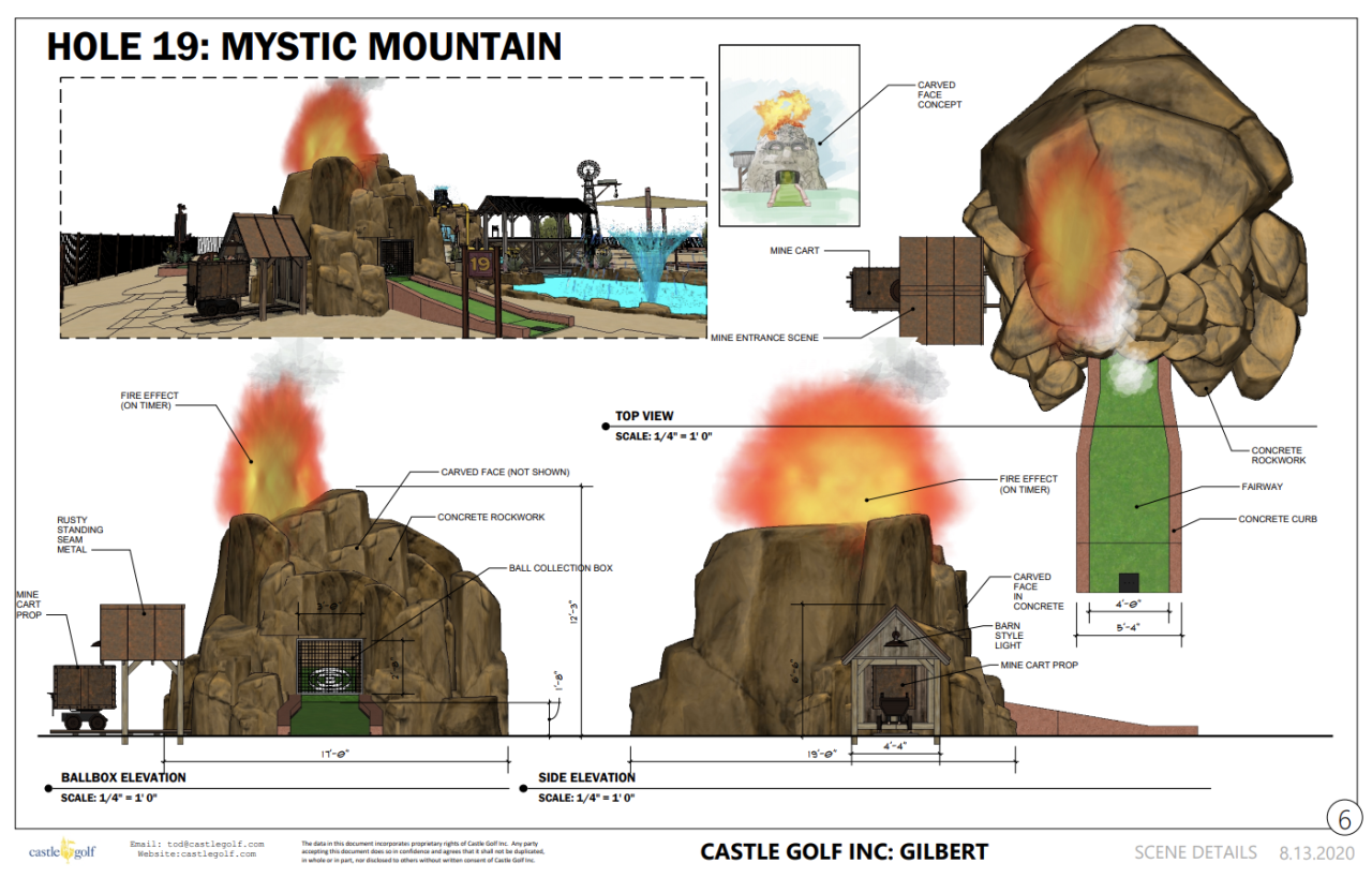 A conceptual rendering of one of the themed holes that will be part of the miniature golf course.
