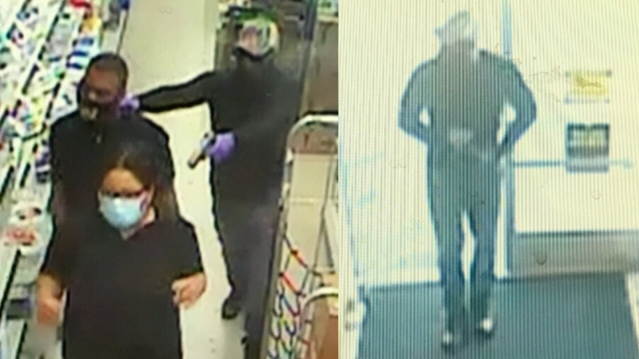 Surveillance photos show a robbery at the Family Dollar store on Iron Bridge Place Sunday, April 11, 2021.