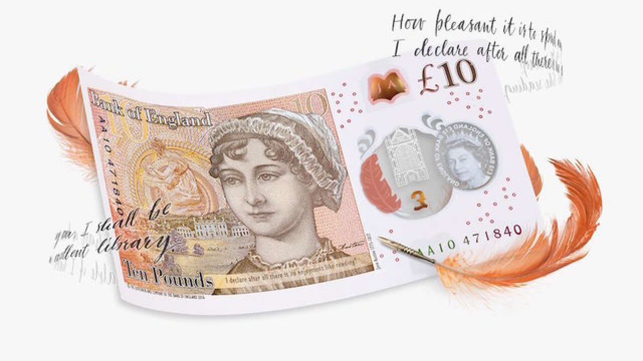 The new British currency features Jane Austen