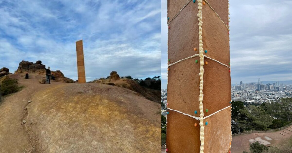 Gingerbread monolith appears on Christmas Day in California