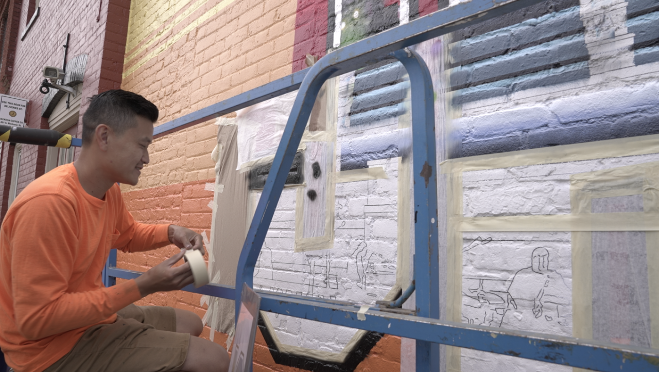 Victor Ving painting Jackson postcard mural