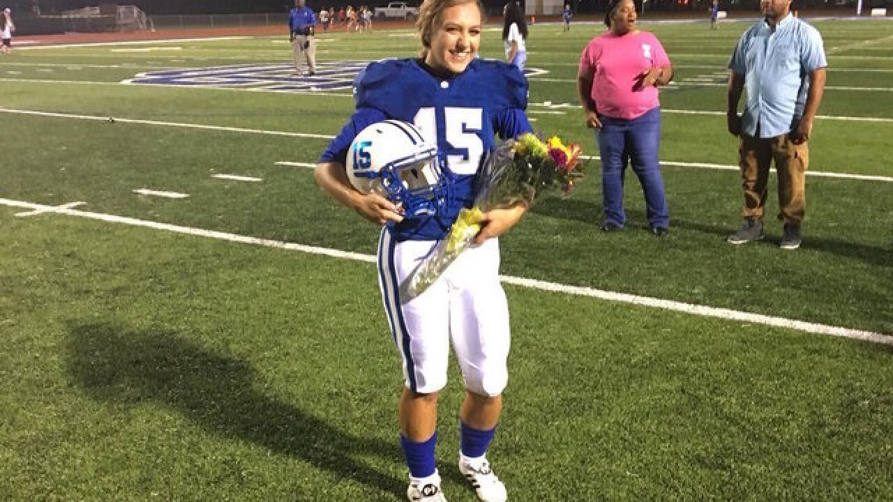 After being named homecoming queen, she kicked the game-winning extra point in overtime