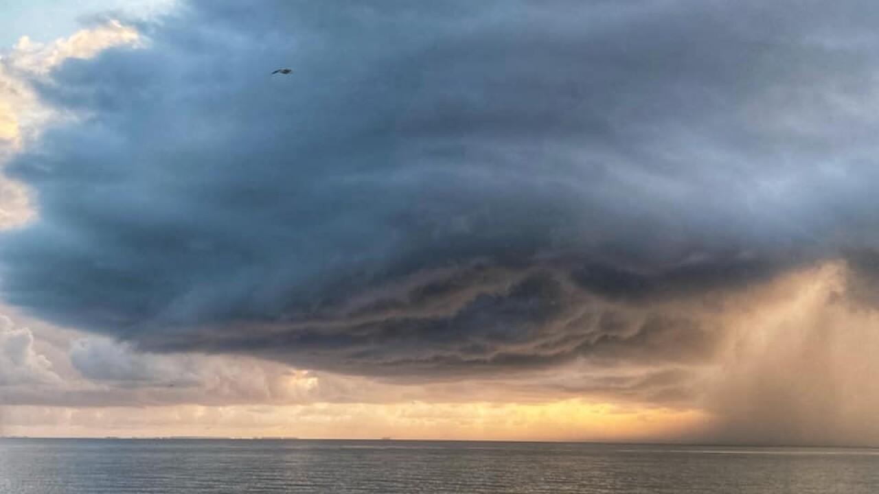 Shower over Corpus Christi Bay - Photo By: FB Coastal Bend Weather Watcher Lu Ann Kingsbury
