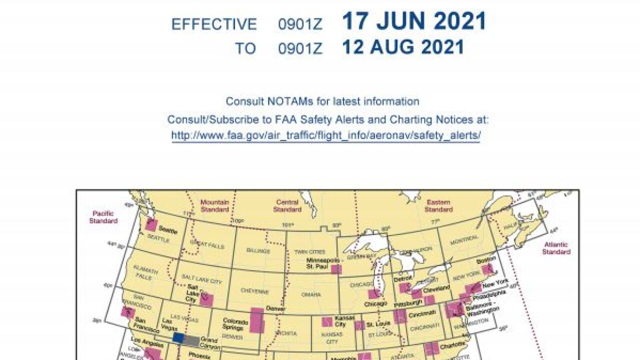 Aircraft aviation maps read Harry Reid International Airport to reflect a name change passed by the Clark County Commission in Feb. 2021. The maps are effective June 2021
