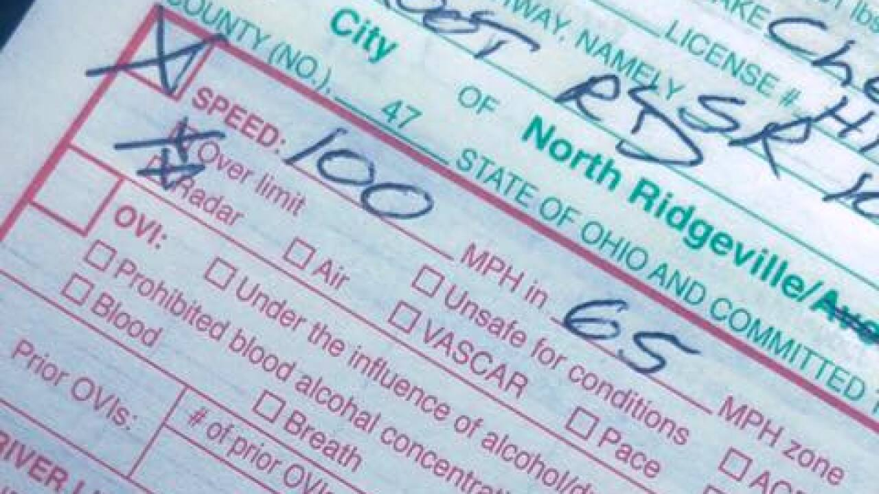 Ticket posted by Ohio police officer