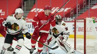 Adam Erne Blackhawks Red Wings Hockey