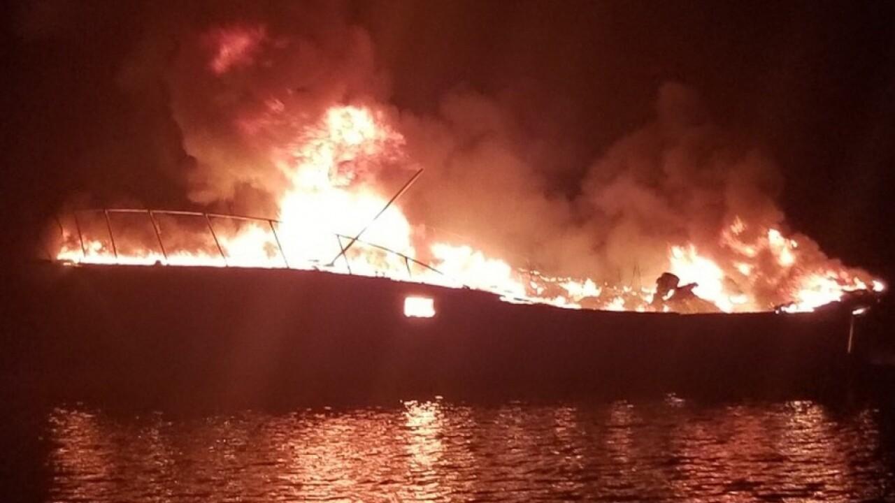 burning boat coast guard 2