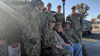 Sailors visit WWII veteran