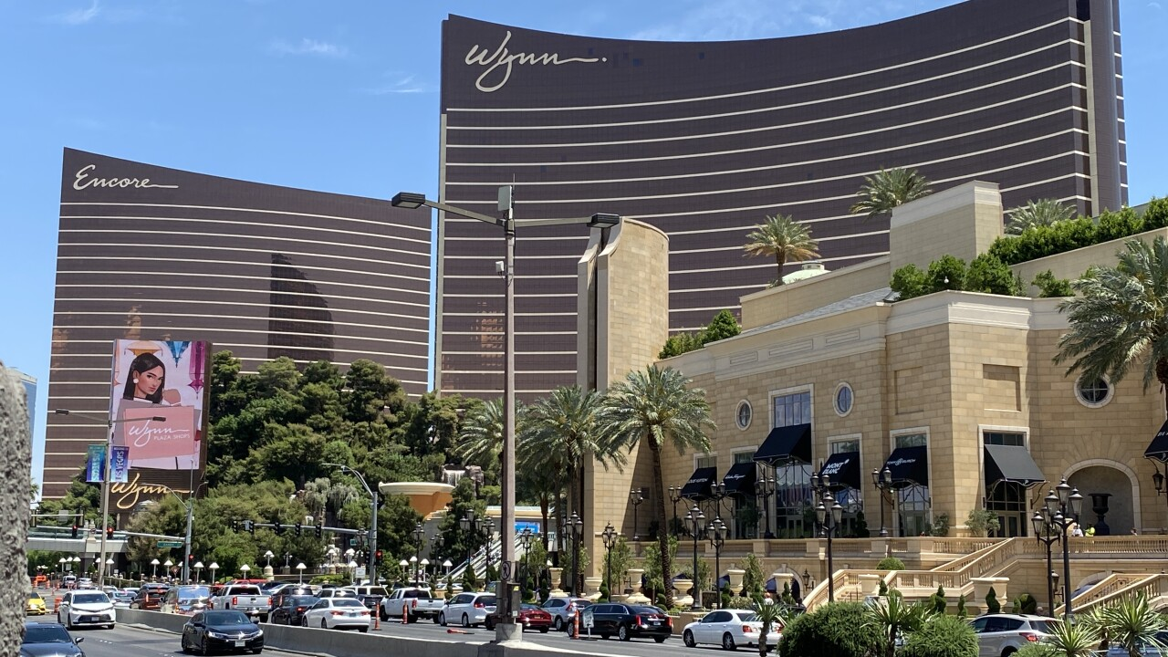The Wynn hotel and casino is located on the Las Vegas Strip as seen in May 2021.