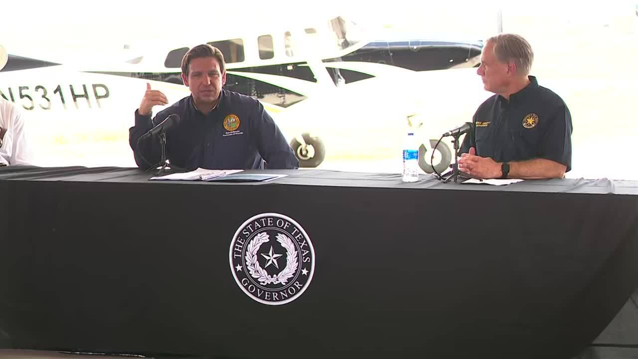 Florida Gov. Ron DeSantis and Texas Gov. Greg Abbott, July 17, 2021