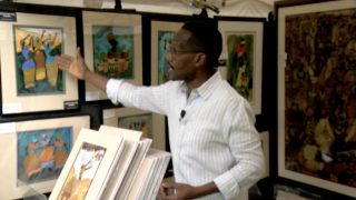 Lungala Rubadiri at his art show