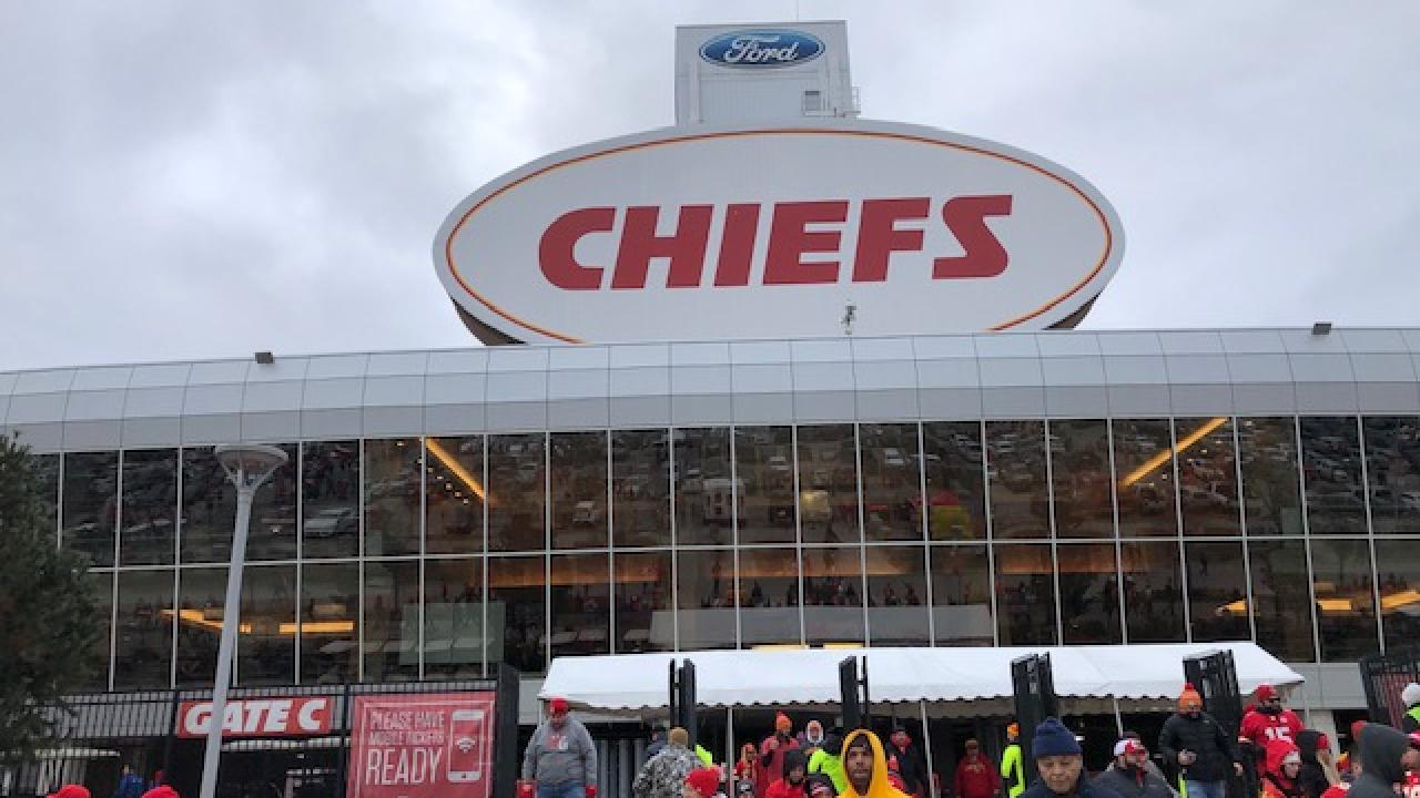 Chiefs fans outside of Arrowhead