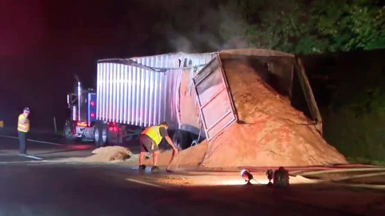 Semi Hauling Sawdust Catches Fire On I-24