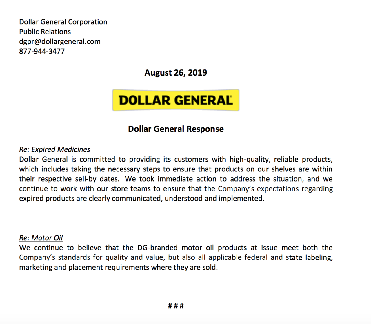 Dollar General Response