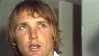 Turk Schonert after leading Bengals over Seahawks in 1981 season opener