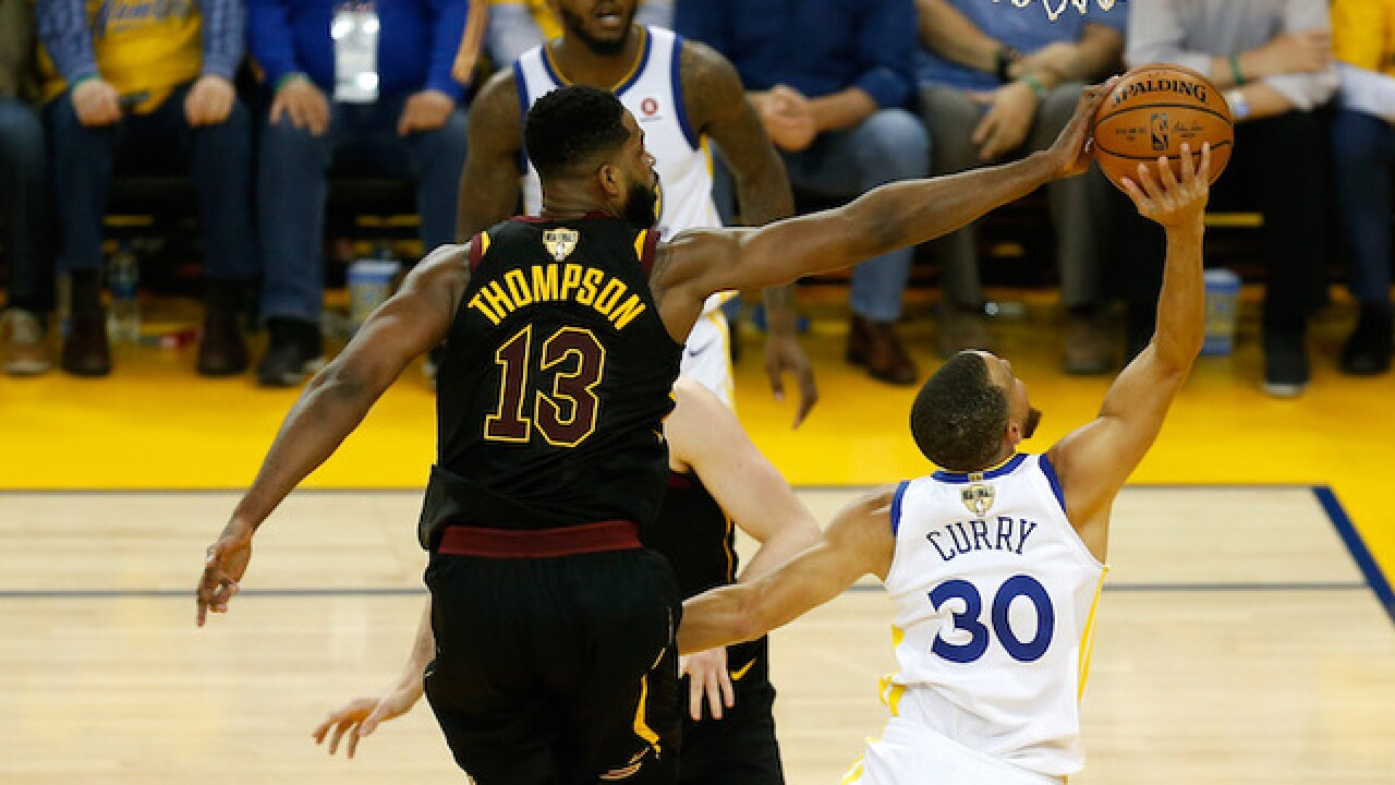 Cavs and Warriors all tied up at 56-56 at halftime of Game 1 of NBA Finals