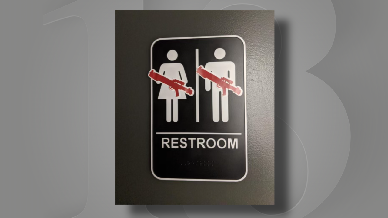 """""""We found some Star Wars wall decals in a clearance bin at the local grocery store, and we thought it would be funny to put them on stuff at the station. Like the bathroom doors had blasters on the little mannequins."""" -Patrick Murphy"""