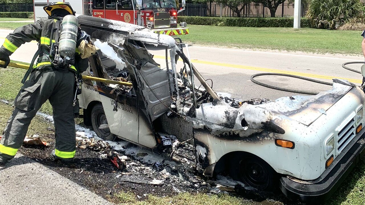Port St. Lucie mail truck fire on April 26, 2021