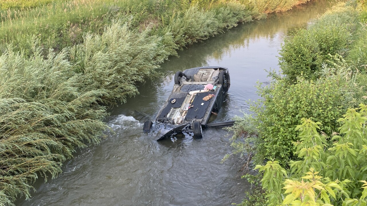 Car submerged in canal in Arvada
