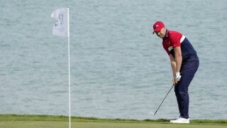 Daniel Berger hits to third green at Ryder Cup, Sept. 26, 2021